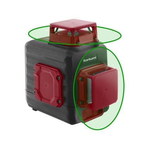 Laser zelený 2D liniový, křížový samonivelační FORTUM