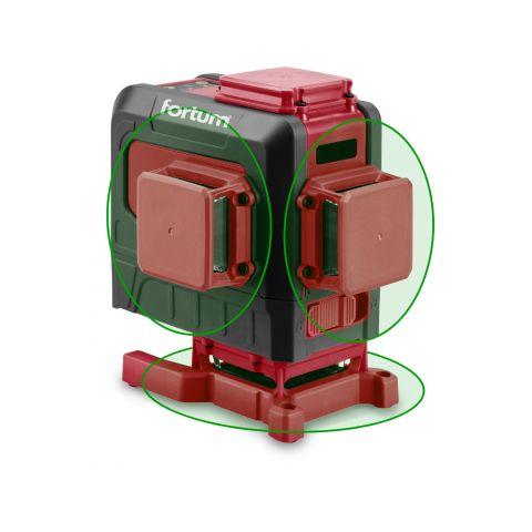 Laser zelený 3D liniový, křížový samonivelační FORTUM