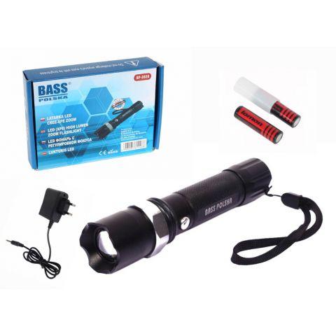 LED svítilna, baterka dobíjecí, voděodolná, BASS