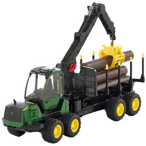 Lesnický traktor John Deere 1210E s nakládacím ramenem a přívěsem 02133 BRUDER