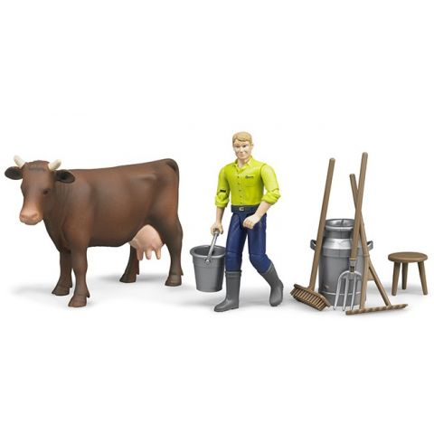 Mlékařský set - farmář s příslušenstvím + kráva 62605 BRUDER