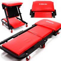 Montážní pojízdné lehátko, stolička 2v1 červená MAR-POL