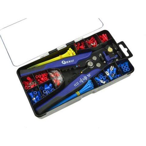 Multifunkční automatické kleště odizolovací, krimpovací 0,2-6mm s konektory a pásky, sada 260ks GEKO