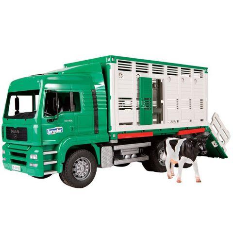 Nákladní auto pro přepravu zvířat MAN TGA + 1 kráva 02749 BRUDER
