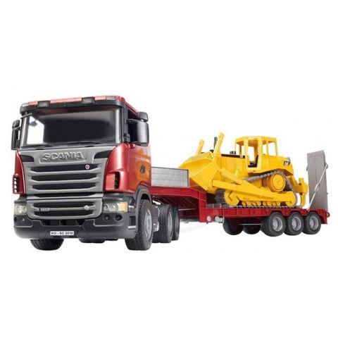 Nákladní auto s návěsem (tahač) Scania s buldozerem CAT 03555 BRUDER