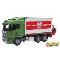 Nákladní auto Scania R s kontejnerem a vysokozdvižným vozíkem 03580 BRUDER