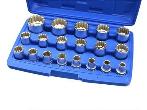 Nástrčné hlavice 8-32mm, sada 19ks, 12-hran v kufru GEKO