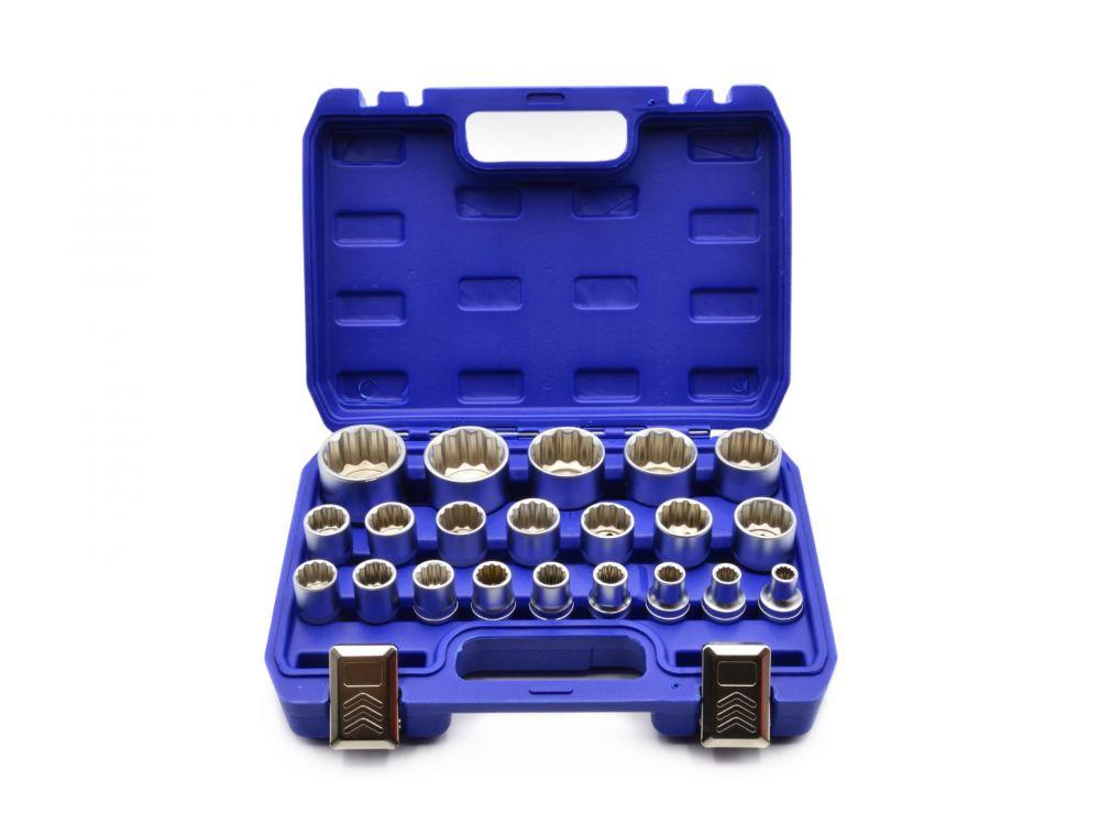 Nástrčné hlavice 8-36mm, sada 21ks, CrV, 12-hran v kufru GEKO