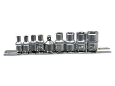 """Nástrčné hlavice torx E5-16, 1/4"""", 3/8"""", 9ks na liště GEKO"""