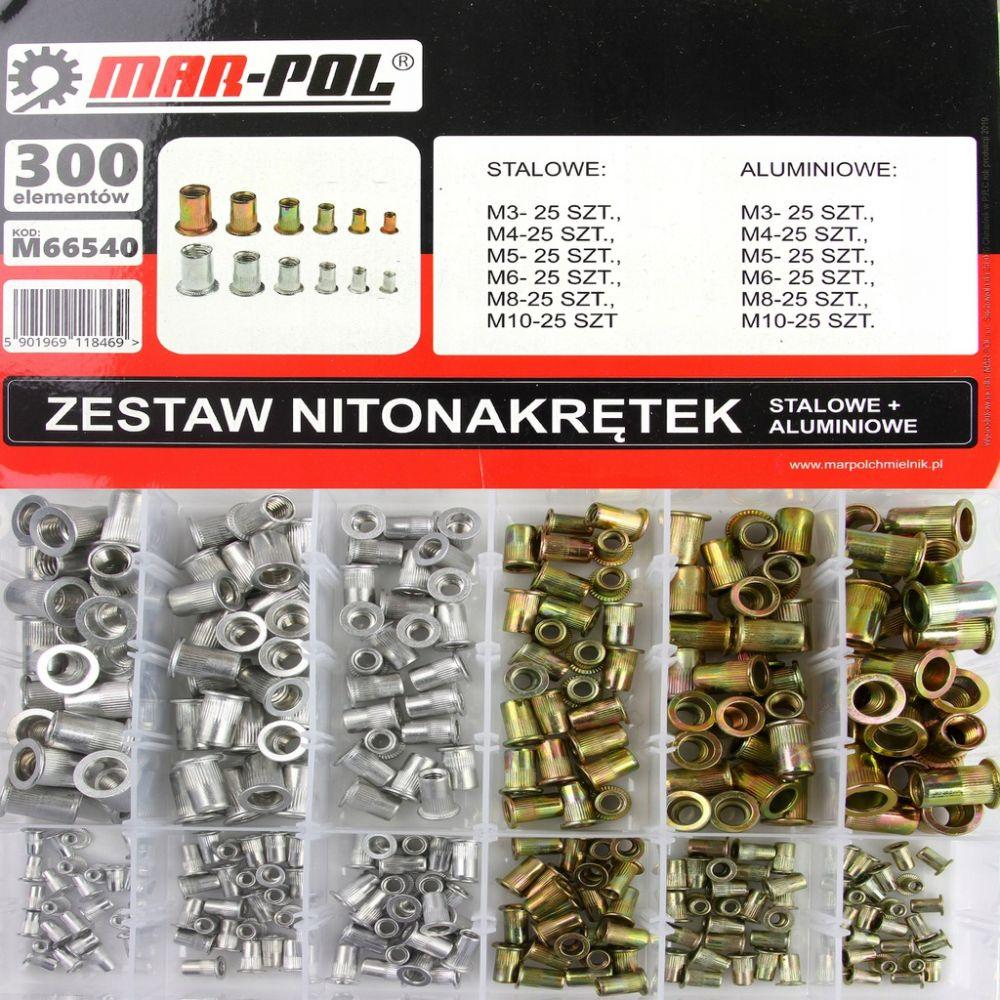 Nýtovací matice, sada 300ks, M3-M10, ocelové, hliníkové MAR-POL Nářadí-Sklad 1 | 0