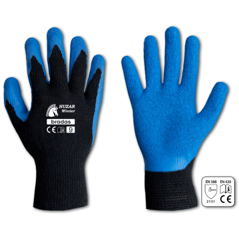 """Ochranné rukavice, latexové, 10"""" HUZAR WINTER"""