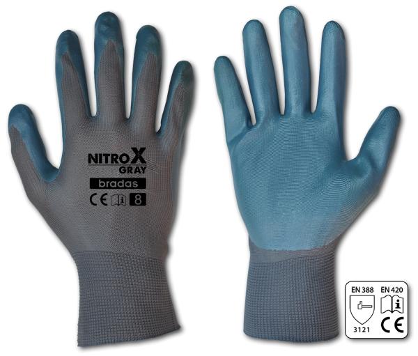 "Ochranné rukavice, nitrilové, 10"" NITROX GREY *HOBY 0Kg BR-RWNGY10"