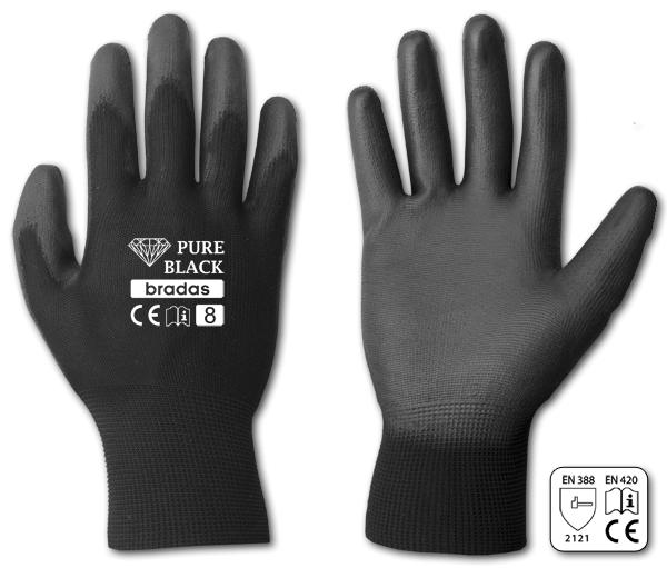 """Ochranné rukavice, polyuretanové, 10"""" PURE BLACK *HOBY 0Kg BR-RWPBC10"""