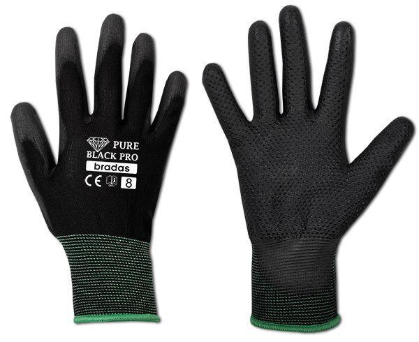 """Ochranné rukavice, polyuretanové, 10"""" PURE BLACK PRO *HOBY 0Kg BR-RWPBCP10"""