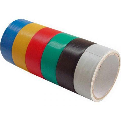 Pásky izolační PVC, sada 6ks, 19mmx0,13mmx3m, různé barvy, šířka 19x0,13mm, EXTOL CRAFT