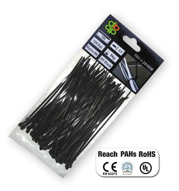 Pásky na vodiče 100 ks, UV BLACK, 2,5x120mm *HOBY 0.036Kg BR-TS1125120B
