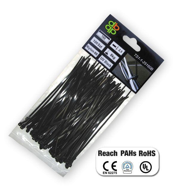 Pásky na vodiče 100 ks, UV BLACK, 7,6x450mm *HOBY 0.441Kg BR-TS1176450B