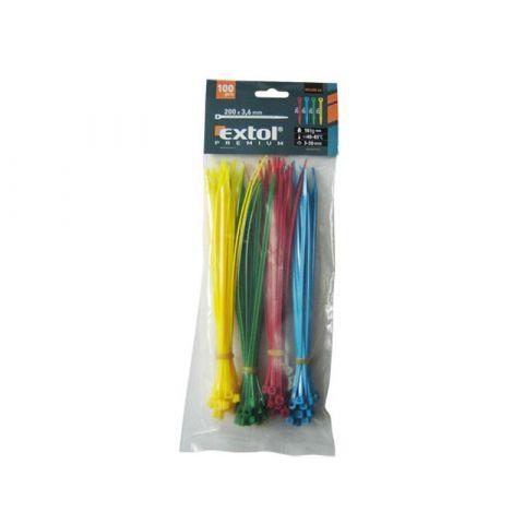 Pásky na vodiče, 2,5x100mm, 100ks, barevné, 4x25ks (žlutý, zelený, červený, modrý), NYLON, EXTOL PREMIUM