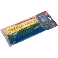 Pásky na vodiče, 2,5x150mm, 100ks, barevné, 4x25ks (žlutý, zelený, červený, modrý), NYLON, EXTOL PREMIUM