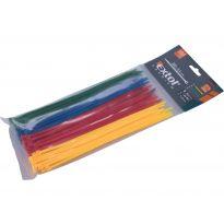 Pásky na vodiče, 3,6x200mm, 100ks, barevné, 4x25ks (žlutý, zelený, červený, modrý), NYLON, EXTOL PREMIUM
