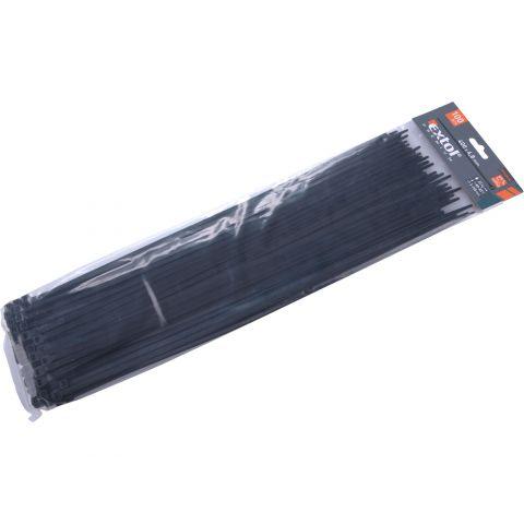 Pásky na vodiče, 4,8x400mm, 100ks, černé, NYLON, EXTOL PREMIUM