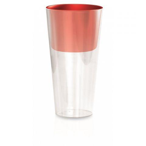 Plastový květináč 3,3L s oranžovočervenou vložkou TUBUS SLIM P