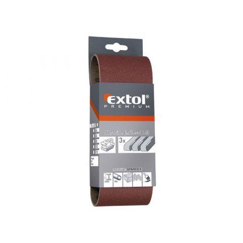 Plátno brusné nekonečný pás, bal. 3ks, 75x457mm, P 100, EXTOL PREMIUM