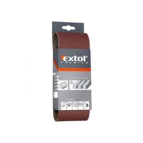 Plátno brusné nekonečný pás, bal. 3ks, 75x457mm, P 60, EXTOL PREMIUM
