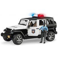 Policejní Jeep Wrangler Rubicon + policista (tmavá pleť) a maják 02527 BRUDER