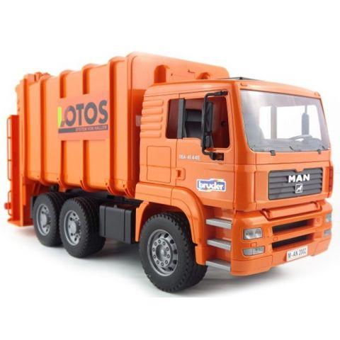 Popelářské auto MAN TGA Lotos se zadním plněním + popelnice 02762 BRUDER