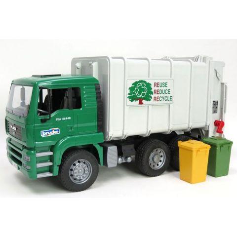 Popelářské auto MAN TGA Lotos se zadním plněním (zelená) + popelnice 02764 BRUDER