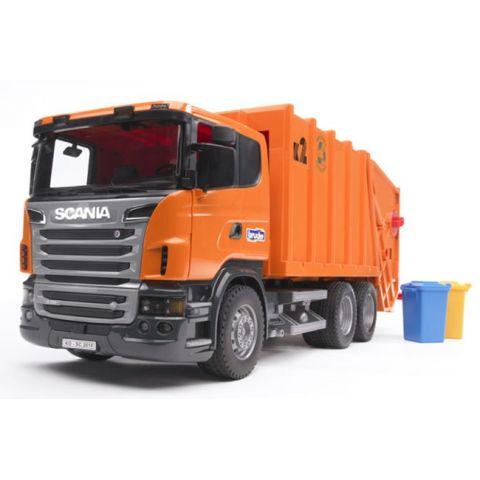 Popelářské auto Scania se zadním plněním + popelnice 03560 BRUDER