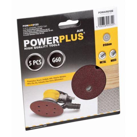 POWAIR0122 5x brusný disk 150mm G60 POWERPLUS