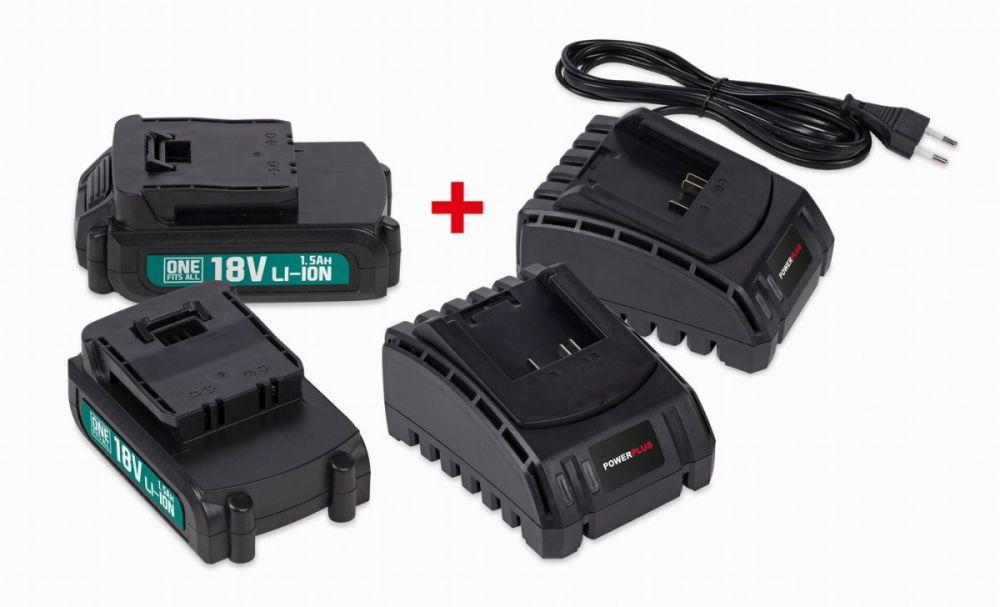 POWEB9090 Sada 2x baterie 18V LI-ION 1.5Ah + 2x nabíječka POWERPLUS Nářadí-Sklad 1 | 0