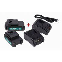 POWEB9090 Sada 2x baterie 18V LI-ION 1.5Ah + 2x nabíječka POWERPLUS