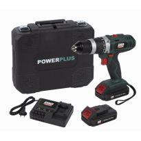 POWP8060  Aku šroubovák/vrtačka s příklepem 18V, 2,0Ah LI-ION, 2 baterie POWERPLUS