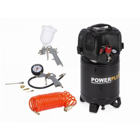 POWX1731 Kompresor 1100W 24L + 7 ks přísl. bezolejový POWERPLUS