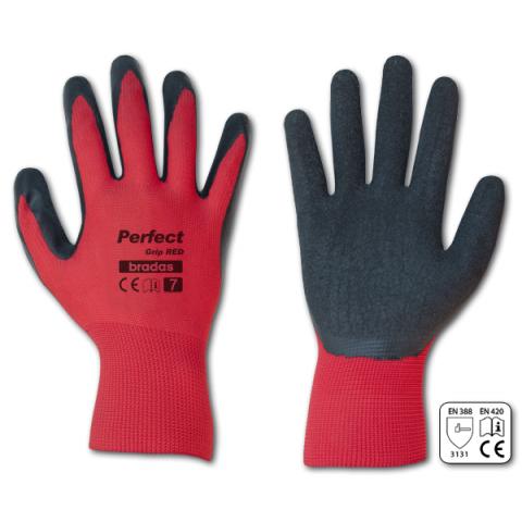 """Pracovní rukavice velikost 7"""", červeno-černé PERFECT GRIP RED"""
