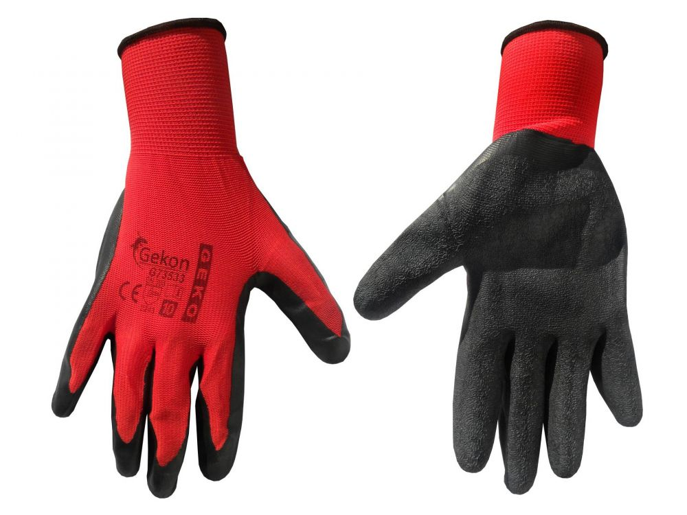 """Pracovní rukavice velikost 10"""", červeno-černé GEKO *HOBY 0.65Kg G73533"""