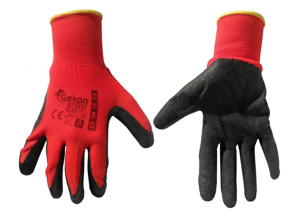 """Pracovní rukavice velikost 8"""", červeno-černé GEKO *HOBY 0.59Kg G73531"""