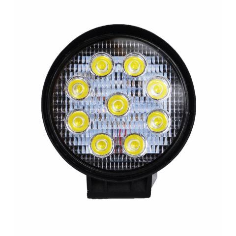 Venkovní / Auto světlo 9 LED, 27W, 10-30V, IP67, kulaté TITANIUM