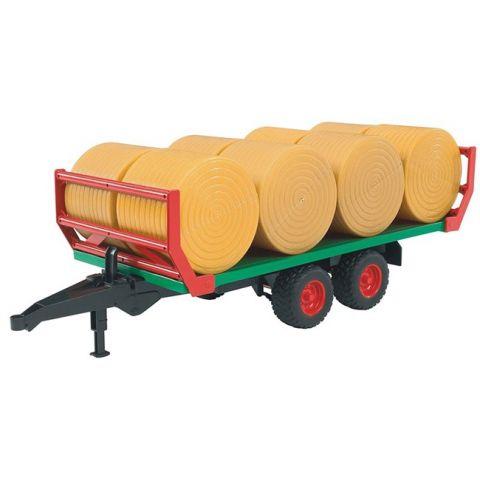 Přívěs, přepravník na balíky + 8 balíků slámy 02220 BRUDER