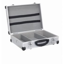 PRM10101S Hliníkový kufr se zámky 425x305x125 mm stříbrný POWERPLUS
