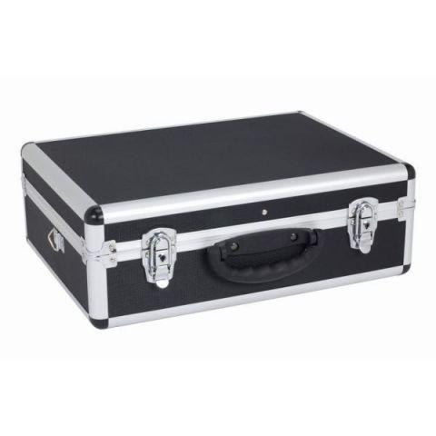 PRM10102B Hliníkový kufr se zámky 460x330x160 mm černý POWERPLUS
