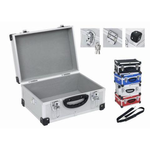 PRM10106B Hliníkový kufr se zámky 320x230x150 mm černý POWERPLUS