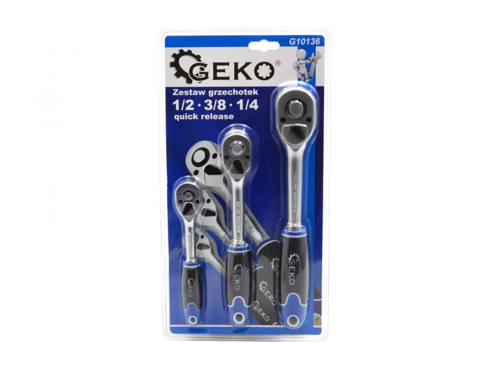 "Ráčna 1/2"", 3/8"", 1/4"", sada 3ks Quick Release GEKO"