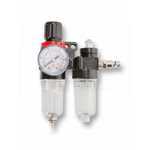 """Regulátor tlaku s filtrem a manometrem a přim. oleje 1/4"""" MAR-POL"""