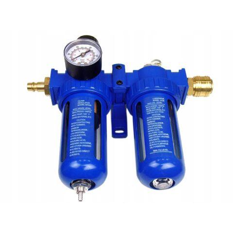 """Regulátor tlaku s filtrem a manometrem a přim. oleje 3/8"""" MAR-POL"""