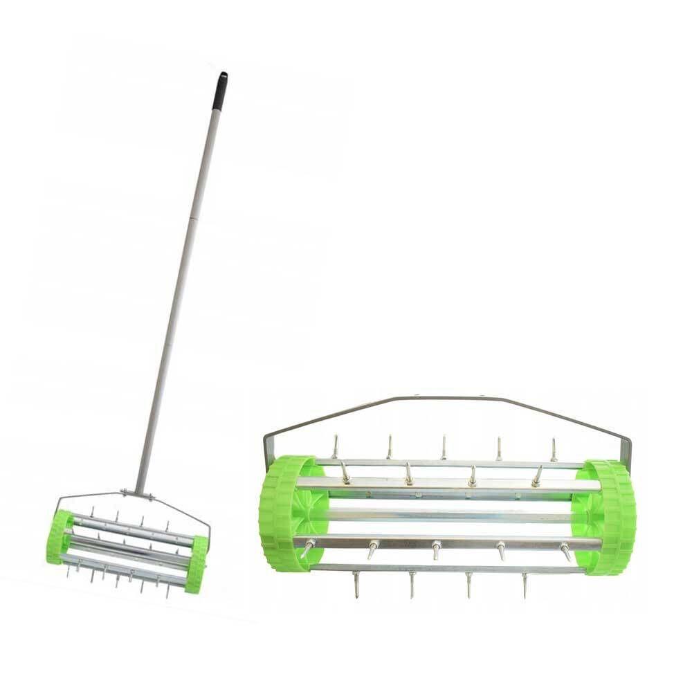 Ruční provzdušňovač trávníku s hroty a kolečky 420mm BASS *HOBY 4Kg BP-8931