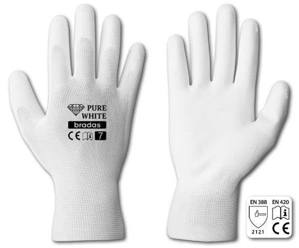 "Rukavice ochranné 10"" polyuretan PURE WHITE *HOBY 0Kg BR-RWPWH10"
